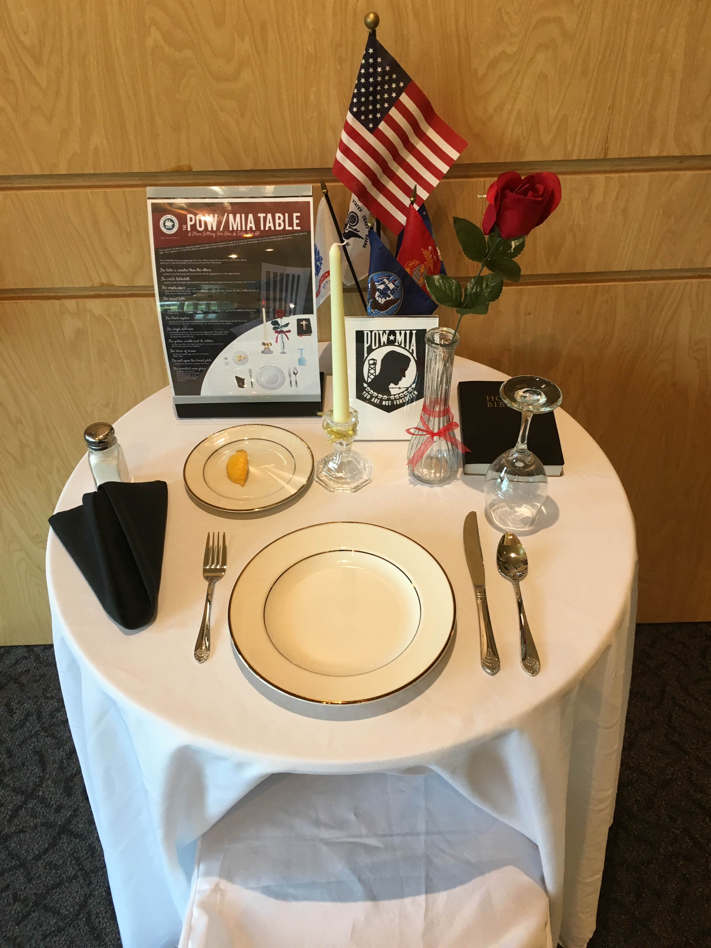 The Naval History and Heritage Command provides an excellent article on the history of the POW/MIA table as well as a description of the items to be found ... & A Place Setting For One A Table For All\u201d \u2013 Naval Order of the US ...